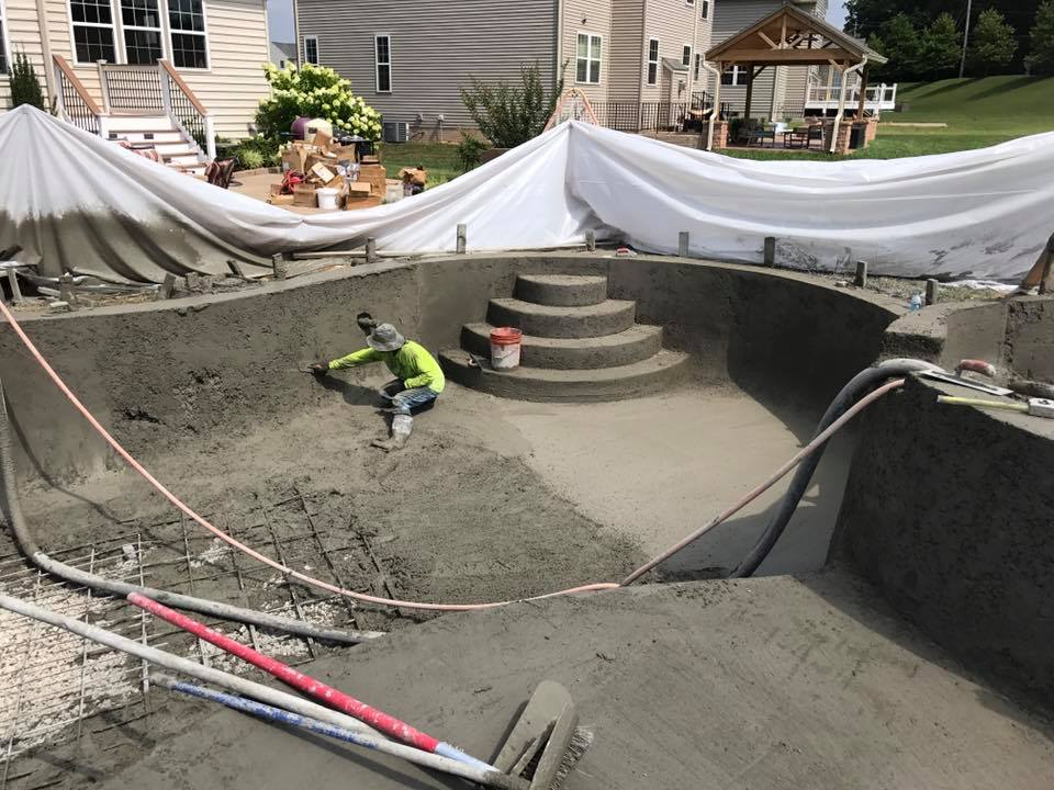 New pools woodfield pools landscape design maryland for Concrete pool construction