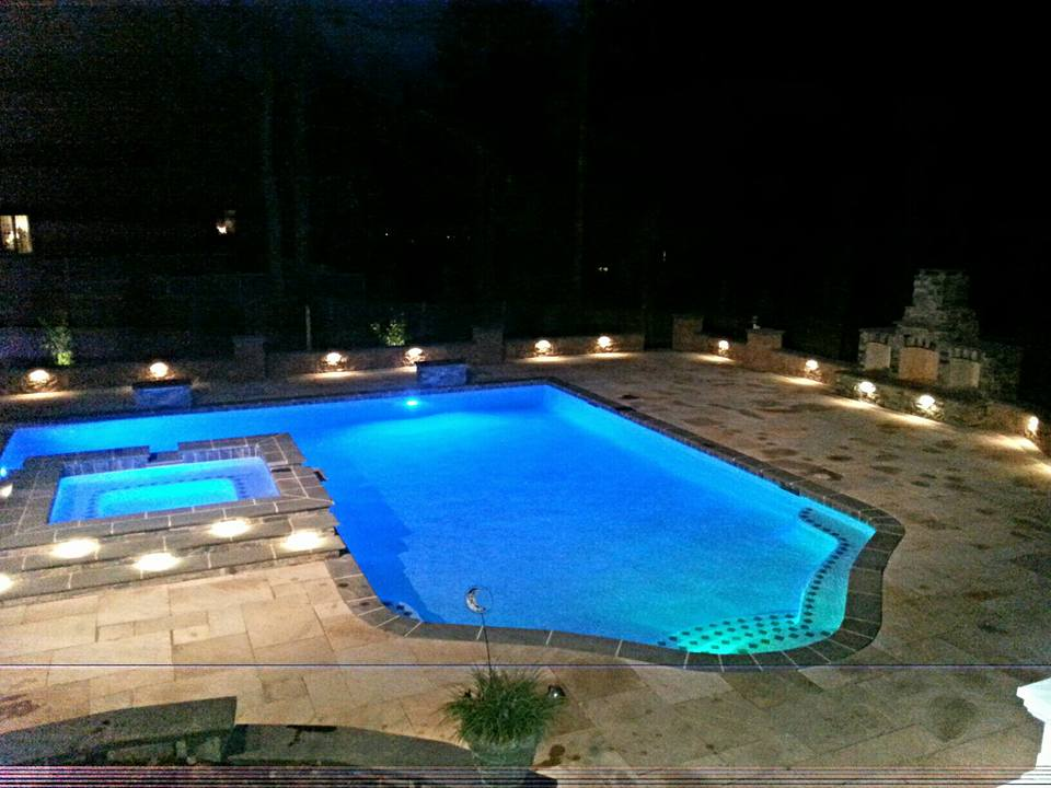 Woodfield Pool Landscape At Night