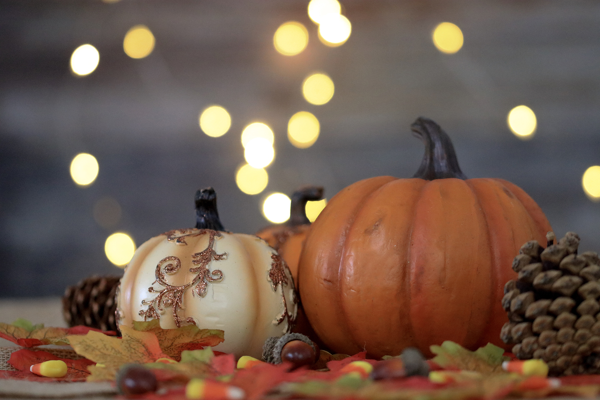 Pumpkins And Bokeh Lights