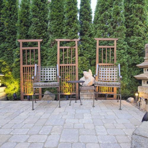 Garden Paver Patio with Trellis Japanese Stone Lantern Pagoda and Bronze Crane Sculpture