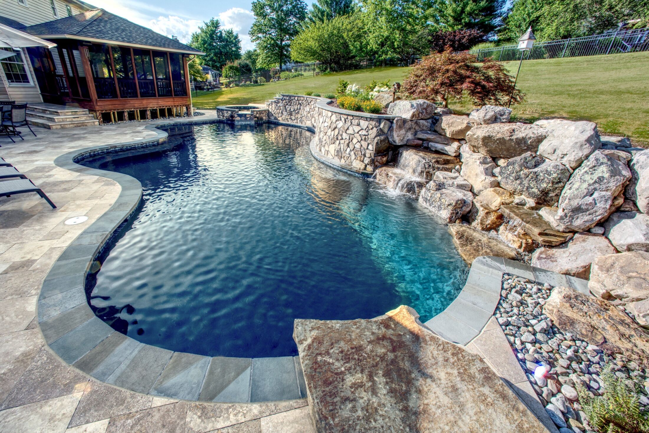 Pool Waterfall Harford County Favorite Outdoor Living Features